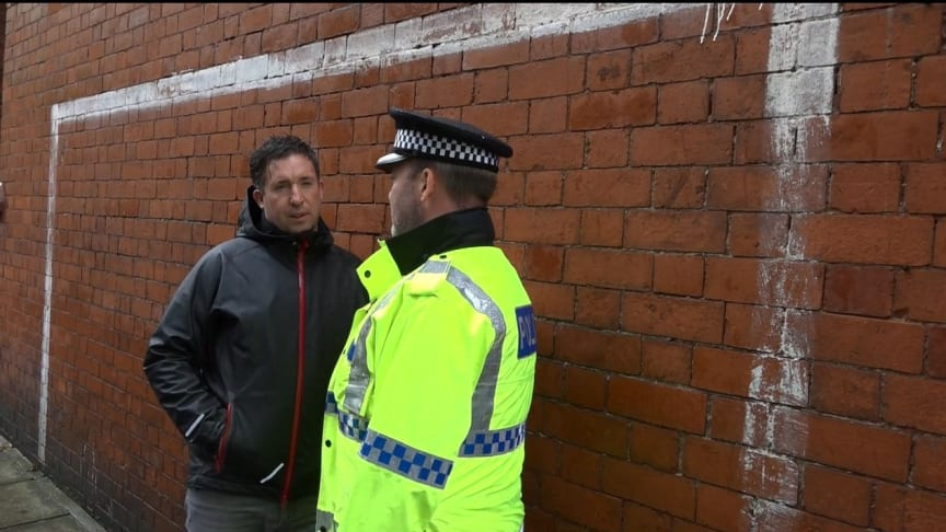 Former Liverpool FC footballer Robbie Fowler talks to Chief Inspector Andy Creer about knife crime
