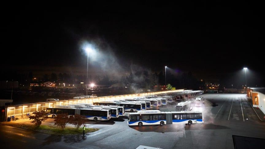 Flygbild från bussdepån i Bettorp, Örebro. Foto: Lasse Fredriksson