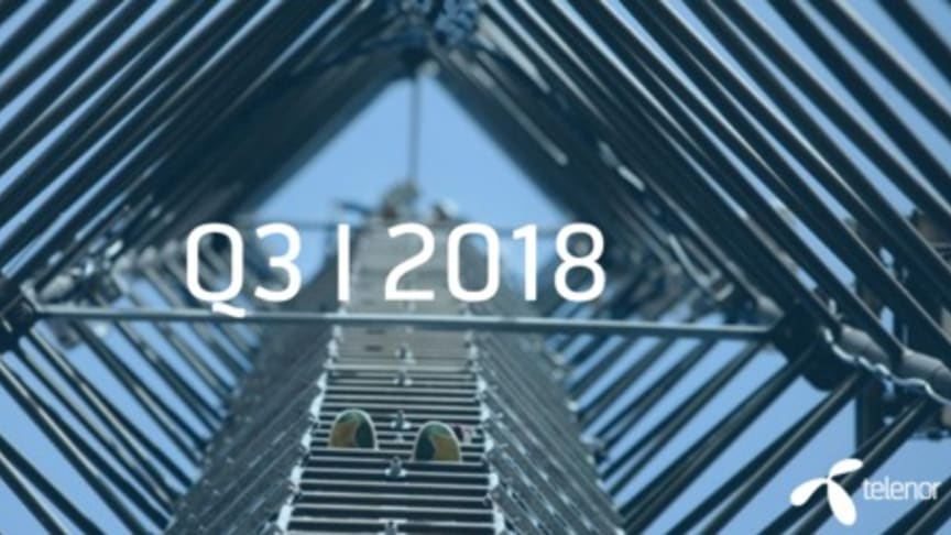 I dag offentliggør Telenor-koncernen resultaterne for 3. kvartal 2018.