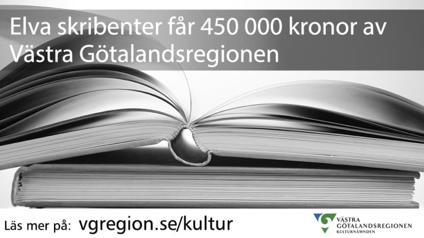 Elva skribenter får 450 000 kronor av Västra Götalandsregionen