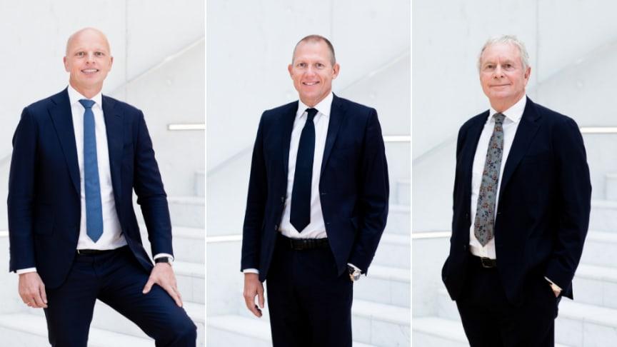 From the left: CFO Jens Lund, CEO Jens Bjørn Andersen and Chairman of the Board of Directors, Kurt Larsen. All three were best in class in  Økonomisk Ugebrev's 2019 ratings