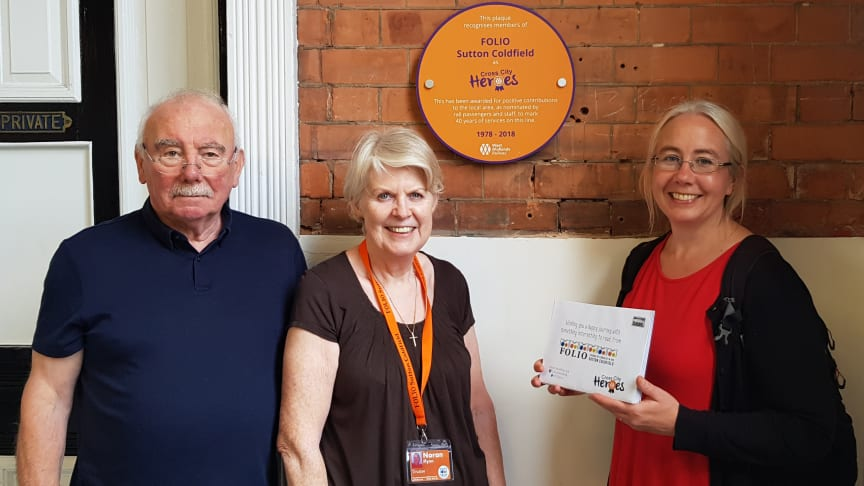 John Cooper (FOLIO Trustee), Noran Flynn (FOLIO trustee) and Zoe Toft (FOLIO Trustee) with their Cross City Heroes plaque at Sutton Coldfield station