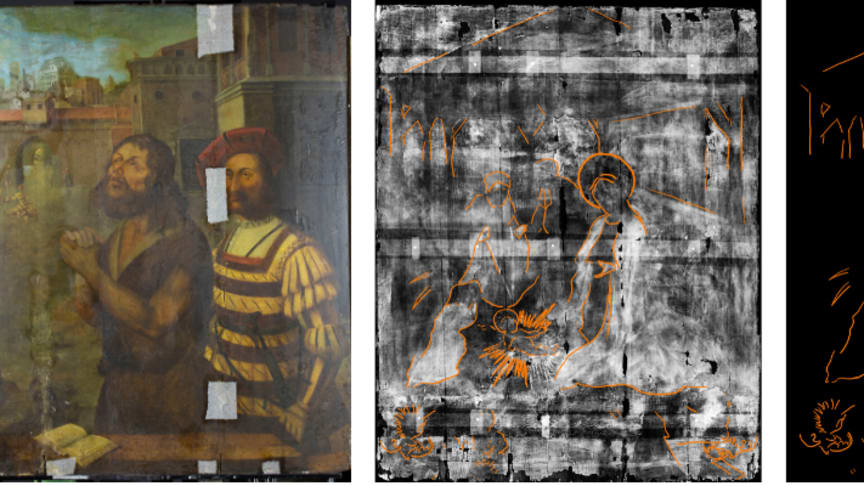From left-right: The painting as it appears today, the x-ray of the painting discovered underneath with the figures outlined, and the outline without the x-ray background.