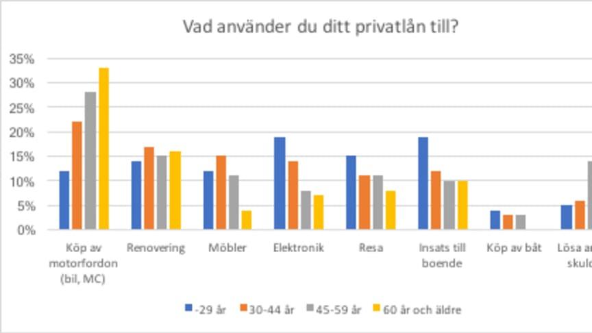 Översikt över vad svenskarna använder sina privatlån till.