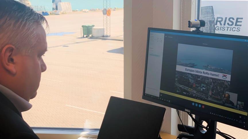 Digitalt möte med infrastrukturminister Tomas Eneroth i Trelleborgs Hamn