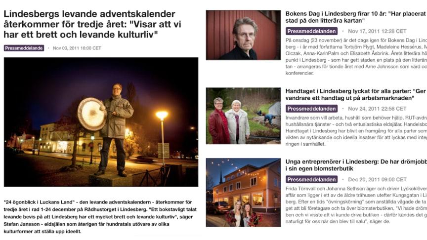 Det var så det började 2011 - nyhetsrummet på Mynewsdesk som utvecklats till nyhetskanalen LindeKultur. Foton: Rolf Karlsson