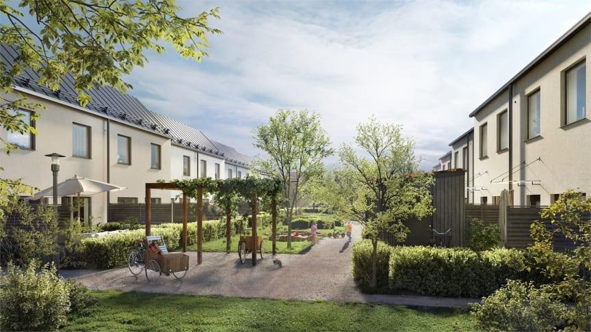 De 18 radhusen i Brf Lillgården har nu funnit sina lyckliga köpare