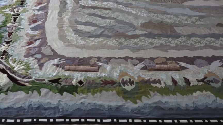 Avskrift av en Träda, Applikationsteknik, återvunnen textil , 470 x 600 cm, Åsa Elzén 2019
