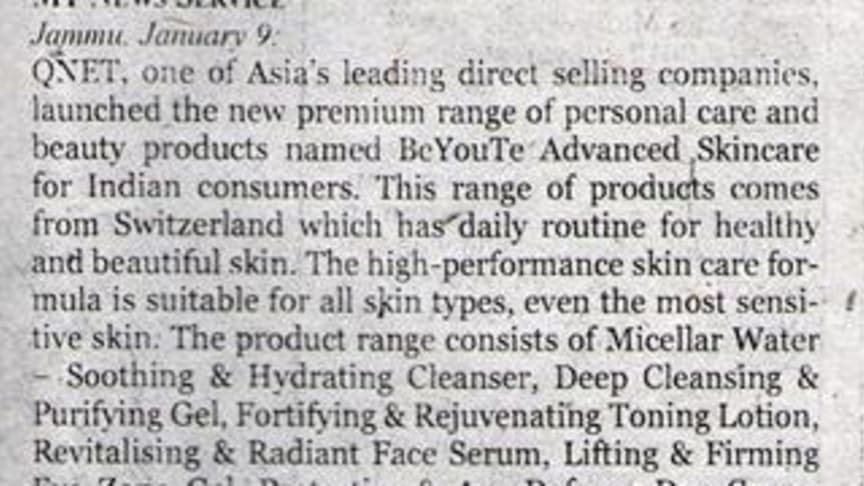 QNET strengthens personal care and beauty portfolio with the launch of  BeYouTe Advanced Skincare products