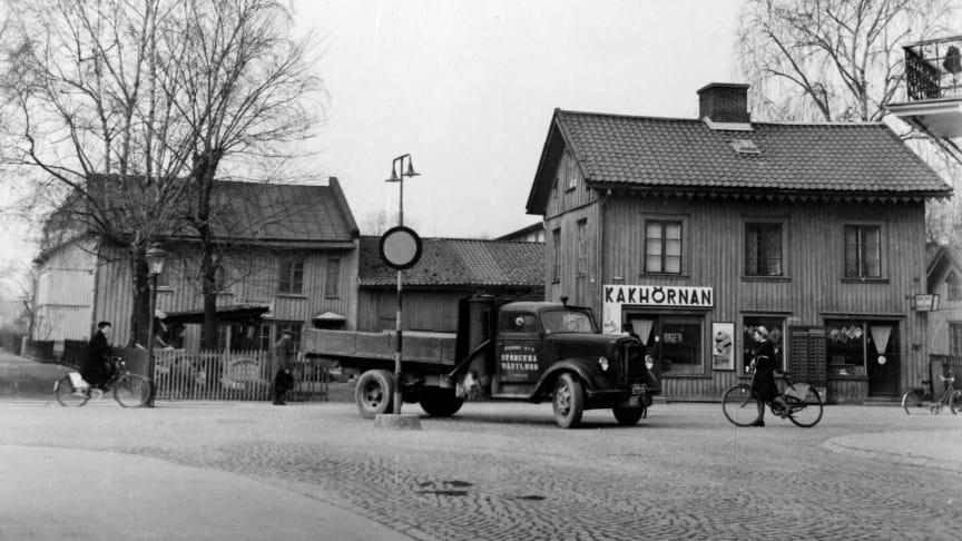 Detta är ett exempel på en bild som går att hitta i webbkartan. Bilden är från Nygatan 7 i Haga och är tagen den 4 april 1946