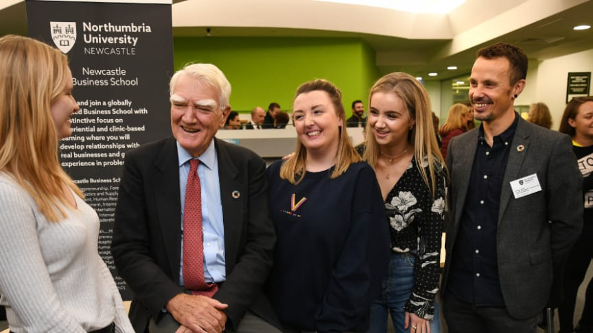 Sir Mark Moody-Stuart with Northumbria students and Dr Alex Hope