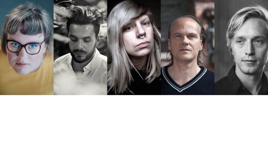 Charlotte Qvandt (foto: Wahab Akman), Sami Aidi (foto: Charles Ludvig), Evelina Varas, Håkan Sandell (foto: Dimitri Lurie) & Jack Hildén (foto: Tove Freij) är några av dem som medverkar på Poesimässan..