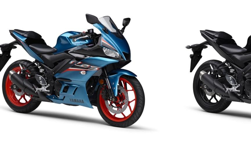 左より、「YZF-R25 ABS」シアン、「YZF-R3 ABS」マットダークグレー