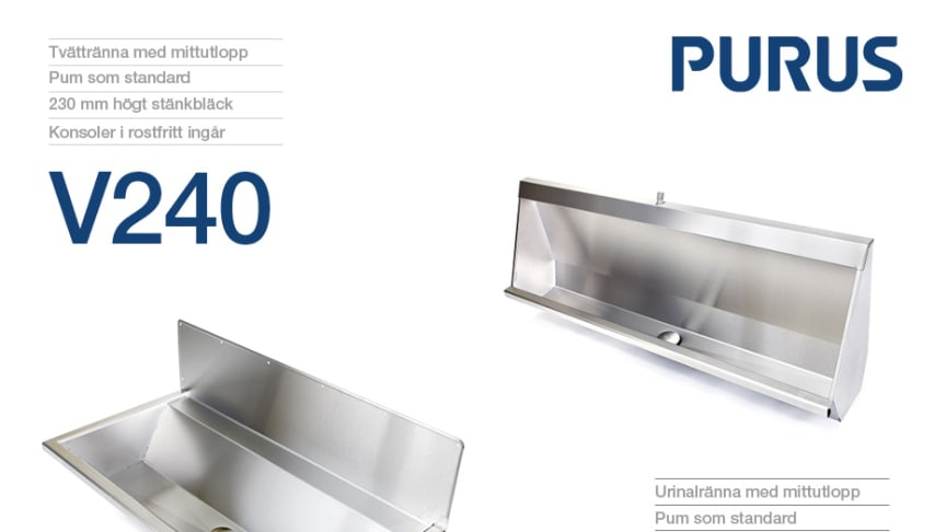 Urinalränna V301 och Tvättränna V240