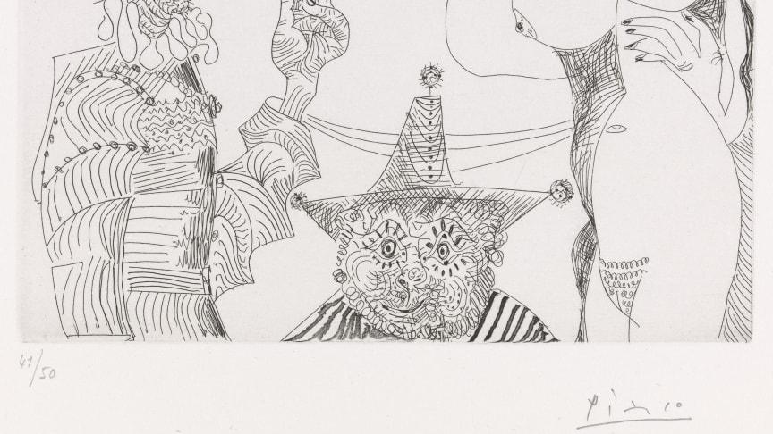 Pablo Picasso: 28. august 1968. Streketsning på papir. © Succession Pablo Picasso / BONO 2019. Foto: Nasjonalmuseet for kunst, arkitektur og design.