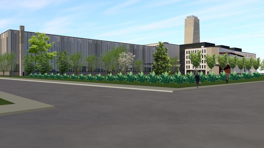 Havainnekuvassa Vaasan Vaskiluotoon valmistuva Wärtsilä Smart Hub - ja toimistorakennus. Kuva: Wärtsilä