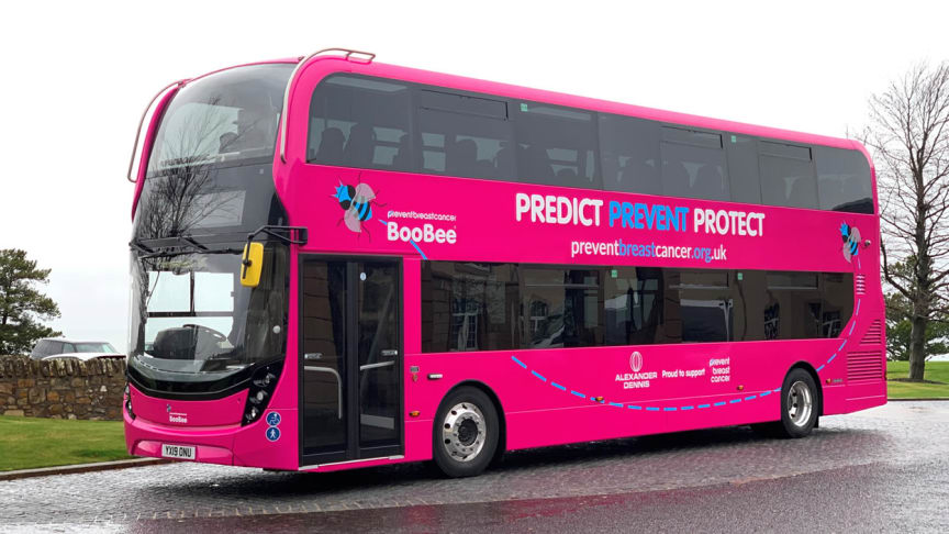 The 'BooBee' bus arrives in the North East to raise awareness of breast cancer