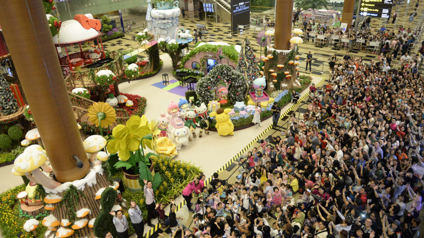 Hello Kitty and her kawaii friends welcome the crowd at Changi Airport's year-end celebrations