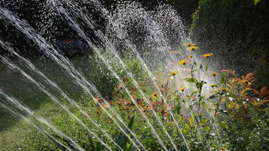 Vattenspridaren förbrukar mycket vatten. Vattna med vattenkanna istället.