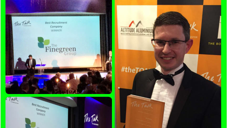 Finegreen named 'Recruitment Company of the Year 2016' at the Talk of Manchester Awards