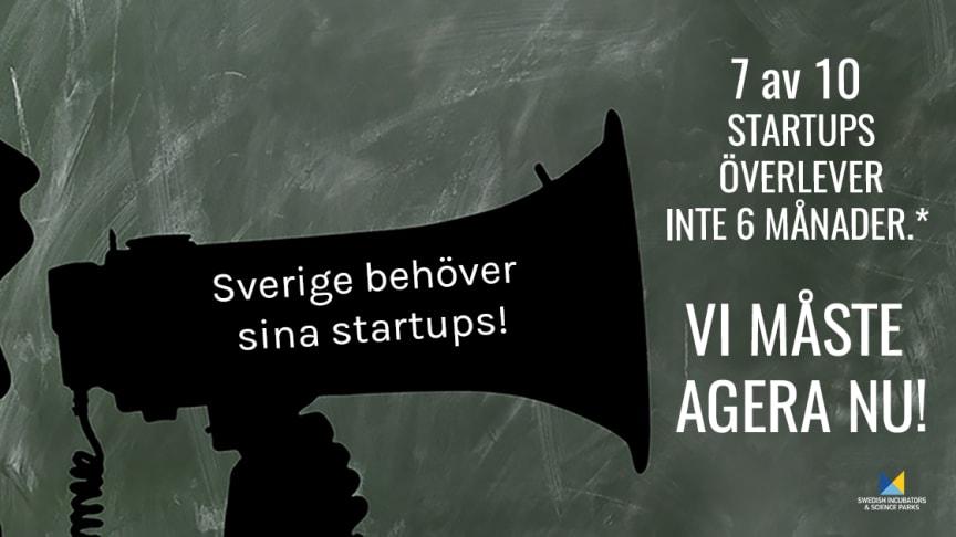 *Baseras på en enkät besvarad av 450 startups i forskningsnära innovationsmiljöer. Enkäten är genomförd av SISP och Ignite Sweden under April 2020.