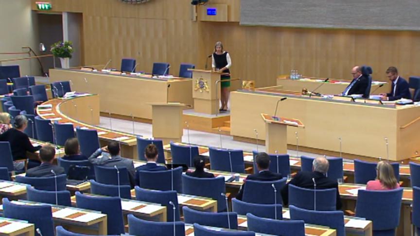 Miljöminister Karolina Skogs anförande under riksdagsdebatten om klimatpolitik den 20 juni 2018. Bildkälla: Riksdagens webb-TV