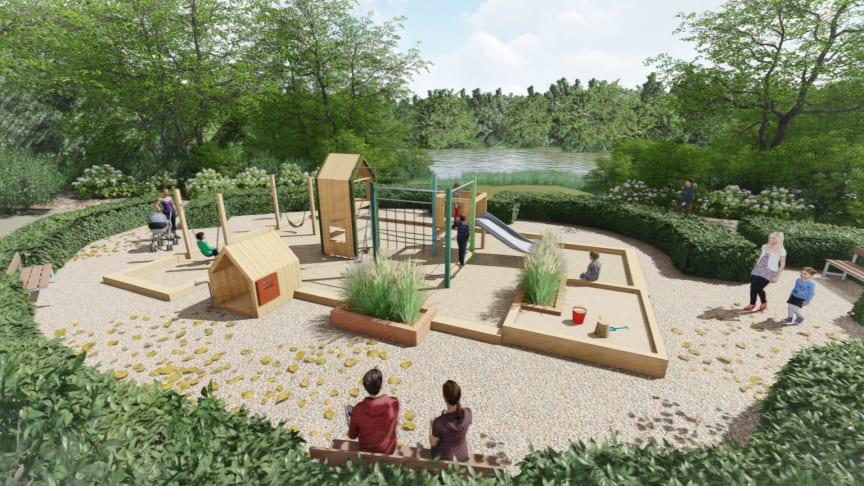 Illustration af den renoverede legeplads. Kilde: Elverdal A/S