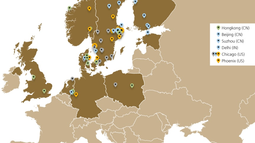 Lagercrantz Group är verksamt i nio länder i norra Europa samt i Indien, Kina och USA.