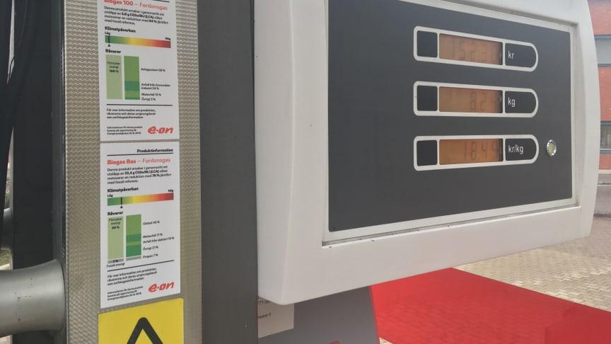 E.ON miljödeklarerar sin biogas vid tankstället