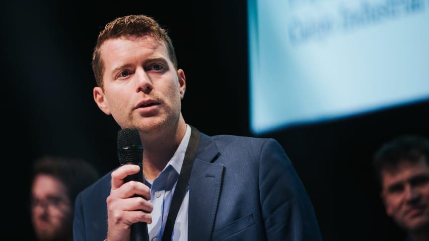 Johannes Holmberg, vd för Calejo, presenterade bolagets två projekt för ledande befattningshavare på Piia Summit.