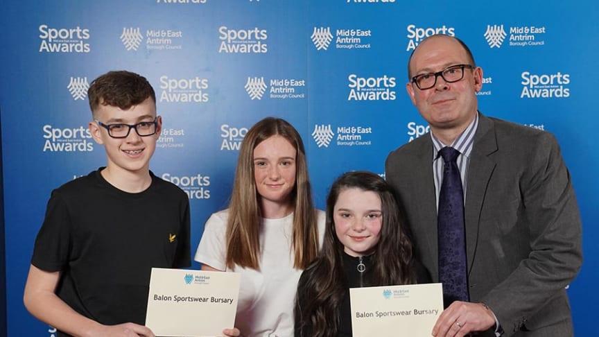 Last year's MEA Sports Awards Balon Sportswear busary winners Joel McKimm (golf) and Katie and Isla Allen (athletics)
