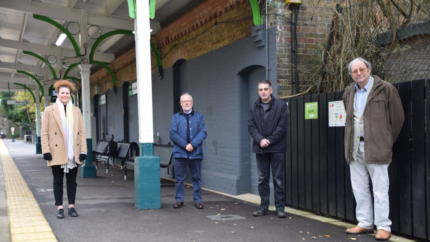 Vicky Cropper-Clarke, Robert Yorke, Dave Horton and Lawrie Hart at Bricket Wood station