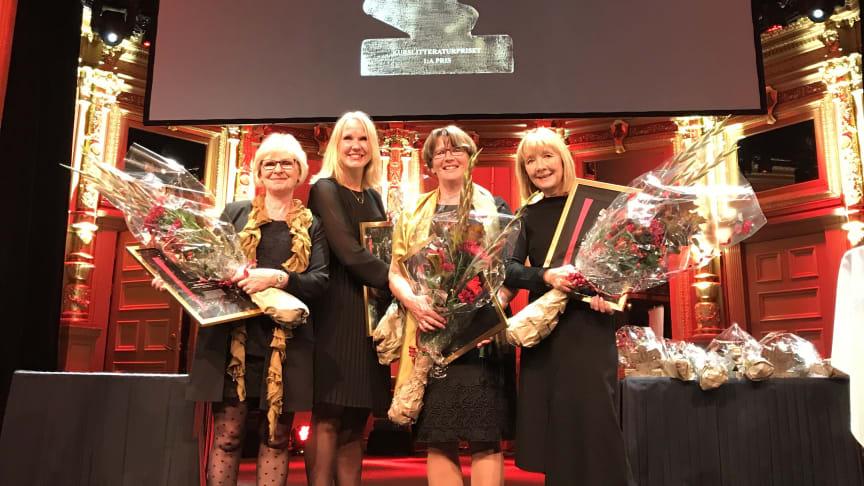 Stolta redaktörer vid prisutdelningen. Från vänster: Anna-Karin Edberg, Marie Ernsth Bravell, Kerstin Blomqvist och Helle Wijk. Fotograf Mats Christiansen.