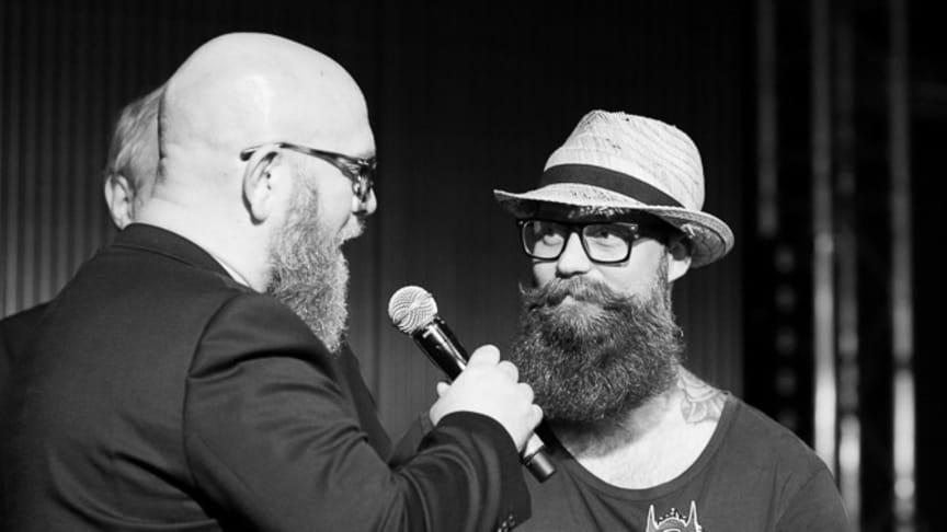 """Förra årets vinnare Torbjörn Olofsson (vinnare av """"Styled Full Beard 2016"""") tävlar i år igen om titeln """"Best Styled Beard 2017""""."""