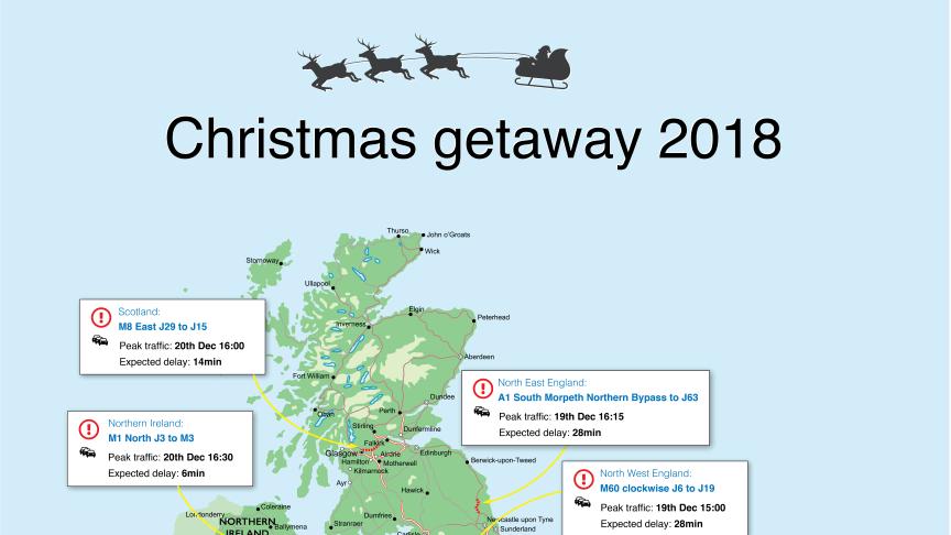 The Christmas getaway 2018 - Top jams by UK region