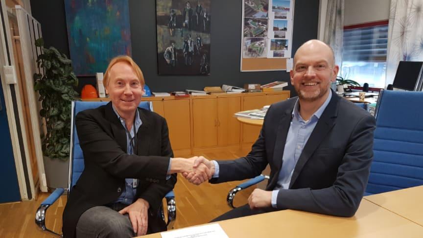 Direktør Per Kristiansen i EGE og konsernsjef Eric Staurset i Goodtech