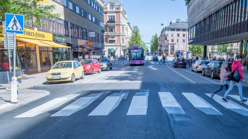 3D-övergångsställe på Drottninggatan genom Näbbtorget. Foto: Örebro kommun/Fredrik Kellén