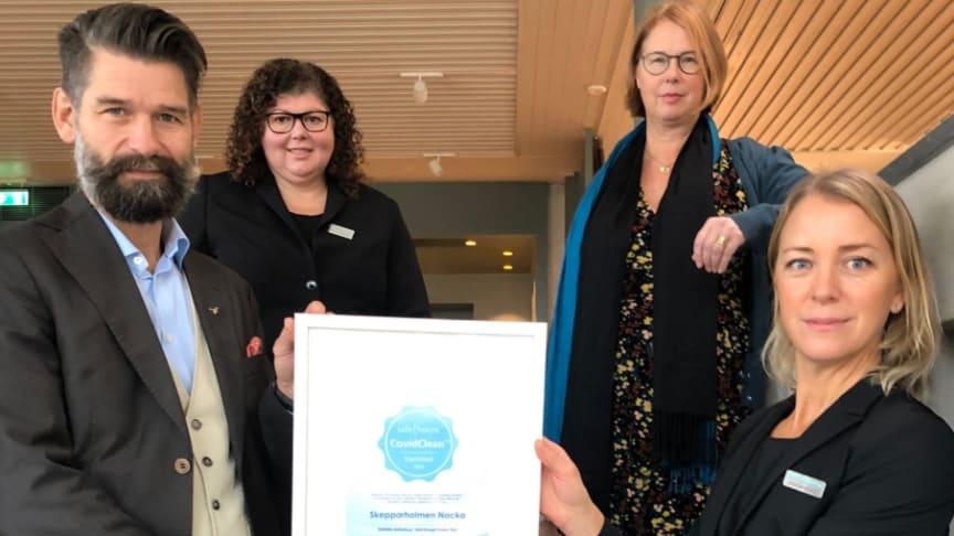 Annalisa Kallipolitis - Projektledare Skepparholmen, Gunilla Strömberg Pettersson - Administrativ chef Skepparholmen, Joachim Törngård - CEO Safehotels och Anna Westerberg - Sales Director Skepparholmen.