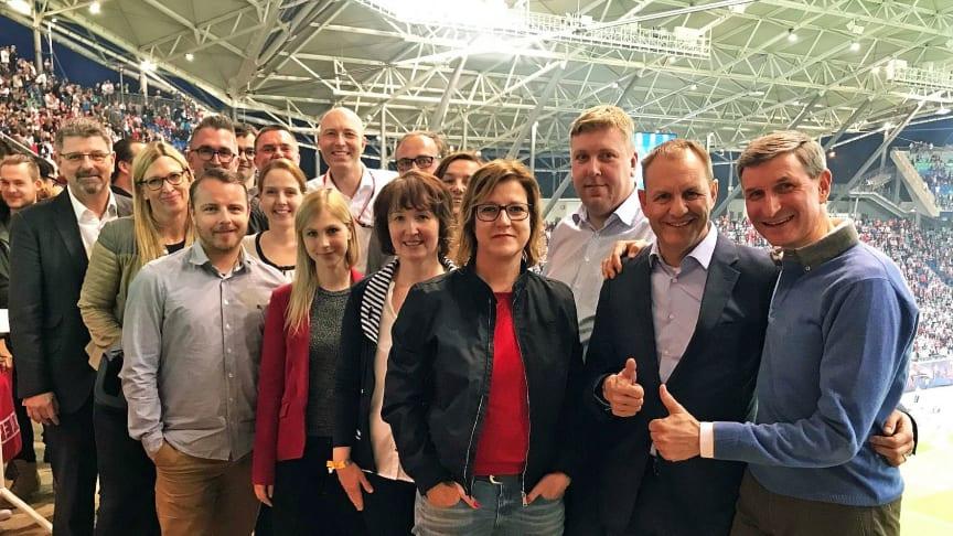 Das Team, das den Tagungsstandort Leipzig auf der IMEX 2018 präsentiert