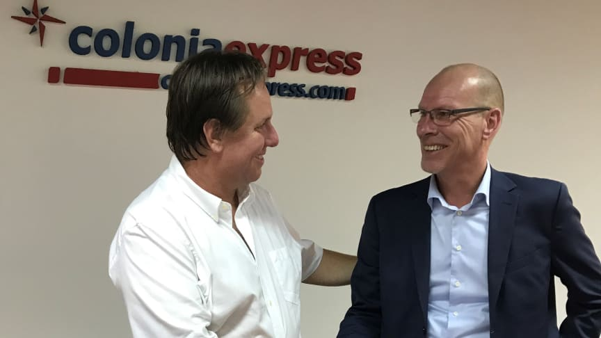 Sebastián Planas, President at Colonia Express and Niclas Blomstrom, Managing Director at Hogia Ferry Systems