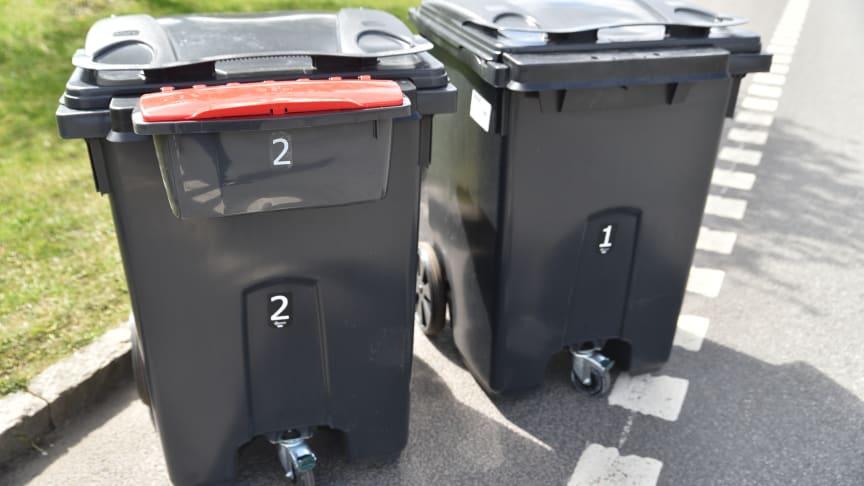 Fyrfack kärl 1, kärl 2 och elboxen. Foto Kristianstads kommun/Claes Sandén