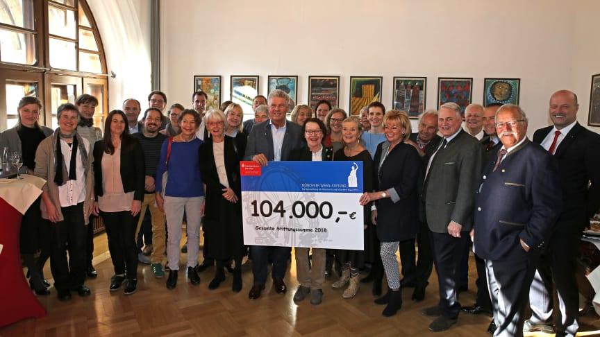 Erstmals übergab OB Dieter Reiter (mitte) die Spendenschecks der Wiesnstiftung im Rathaus in feierlichem Rahmen. Mit dabei der Vorstandsvorsitzende der Stadtsparkasse München, Ralf Fleischer (re.), zugleich Vorstand der Stiftung.