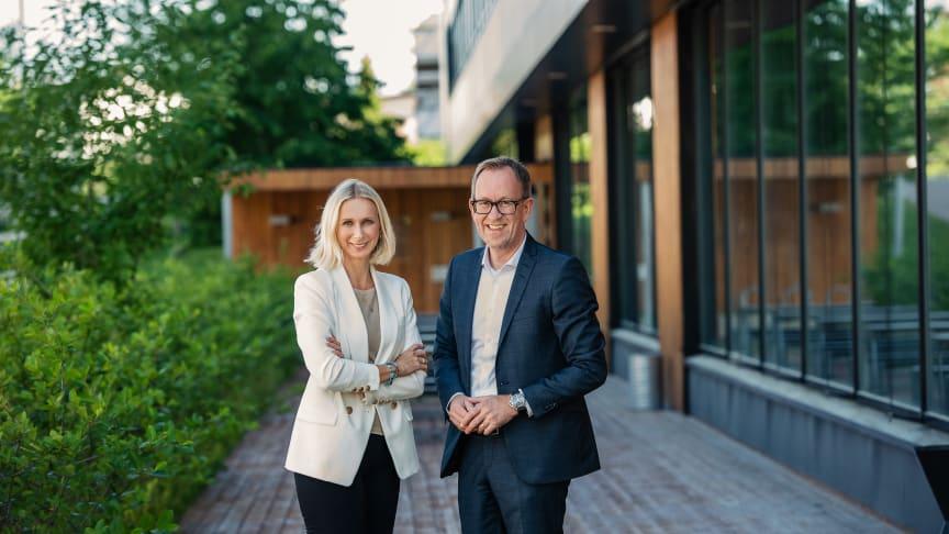Guro Steine, koncerndirektör kommunikation och hållbarhet och Kim Robert Lisø, koncernchef på GK