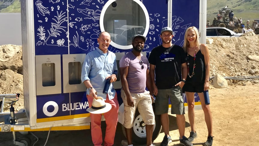 Bluewater keeps actors and production crew well hydrated. From left, Seton Bailey, CEO SA Film Academy,  James Muringani, Production Manager, Grant Killian, Unit & Transport Manager, and Janneke Brasecke, Bluewater Events