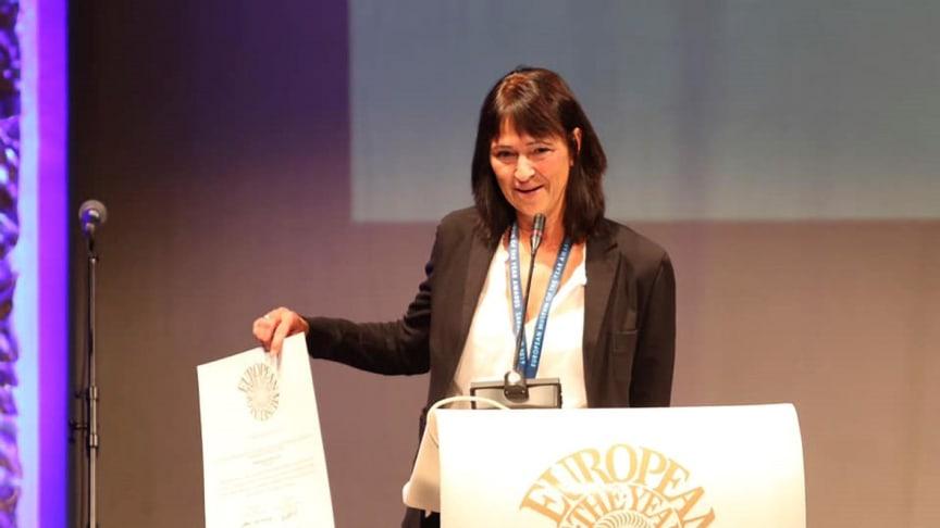 Udstillingsleder Pauline Asingh var i Sarajevo for at modtage den prestigefyldte pris til Moesgaard Museum. Pressefoto EMYA 2019