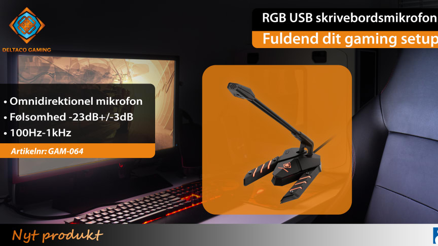 Her kommer den stilfulde og seje skrivebordsmikrofon med RGB-belysning – GAM-064!