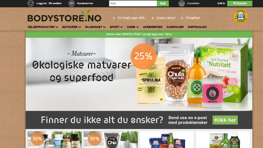 Bodystore.no lanseres i Norge