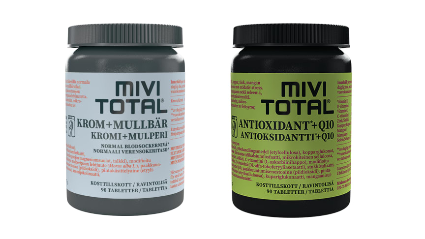 Mivitotals nya kosttillskott Krom + Mullbär för ett balanserat blocksocker samt Antioxidant + Q10.