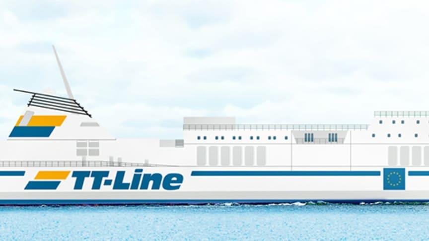 Vy över M/S MARCO POLO som ingår i TT-Lines linjenät sedan 27 januari 2020.