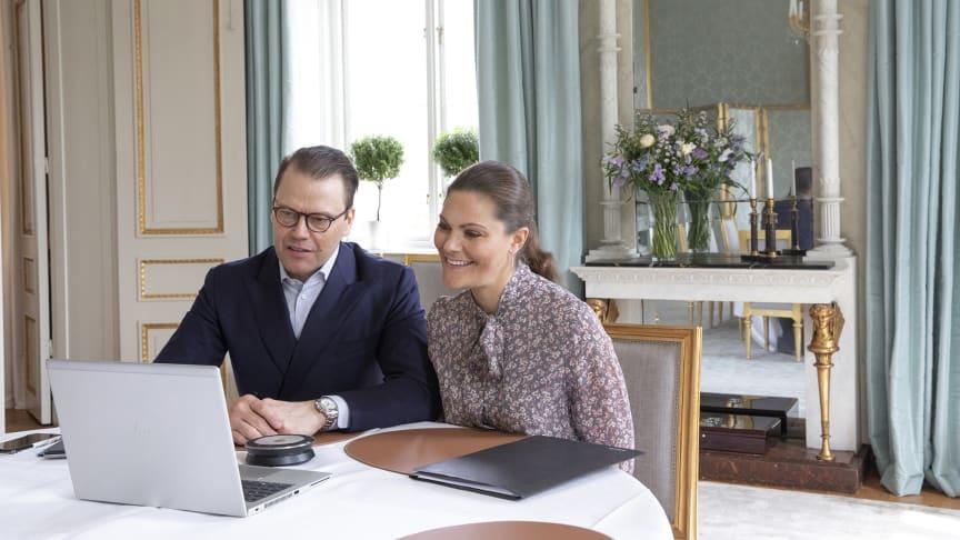 Kronprinsessparet i digitalt möte med kommunstyrelsens ordförande